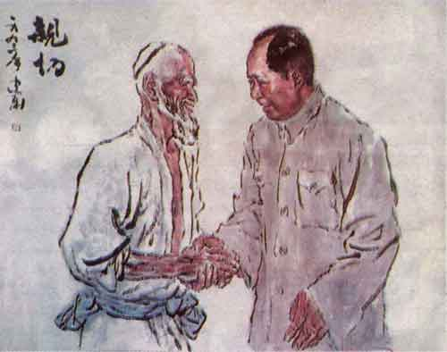 Mao Zedong receiving Kurban Turum