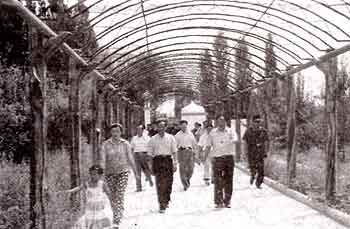 Photograph showing new covered walkway to mazar of the Tughluq T&ouml;mur Khan <i>mazar</i> in Huocheng