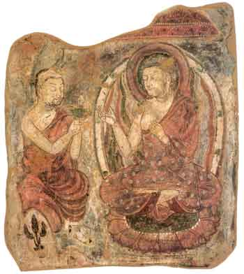 Removed section of Kumtura caves showing Buddha delivering a sermon